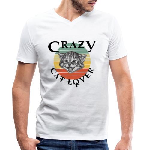 Crazy cat lover - Mannen bio T-shirt met V-hals van Stanley & Stella