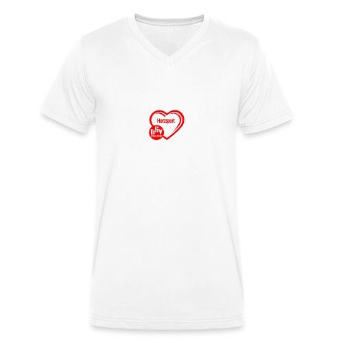 Herzsportlogo klein - Männer Bio-T-Shirt mit V-Ausschnitt von Stanley & Stella