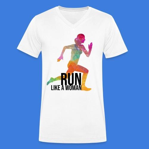Run like a woman - Männer Bio-T-Shirt mit V-Ausschnitt von Stanley & Stella