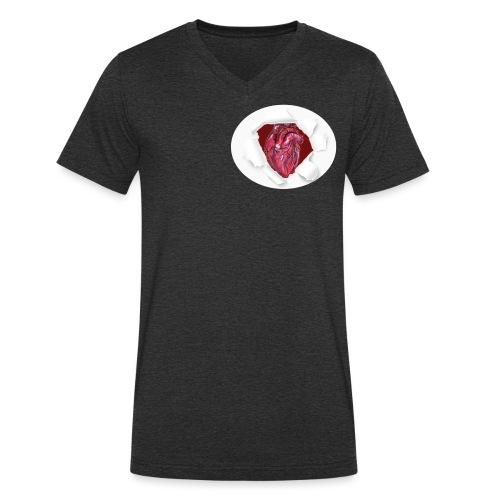 CUORE BATTICUORE - T-shirt ecologica da uomo con scollo a V di Stanley & Stella
