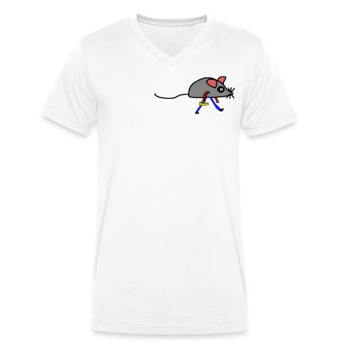Maus mit Käse Lustiges Motiv - Männer Bio-T-Shirt mit V-Ausschnitt von Stanley & Stella