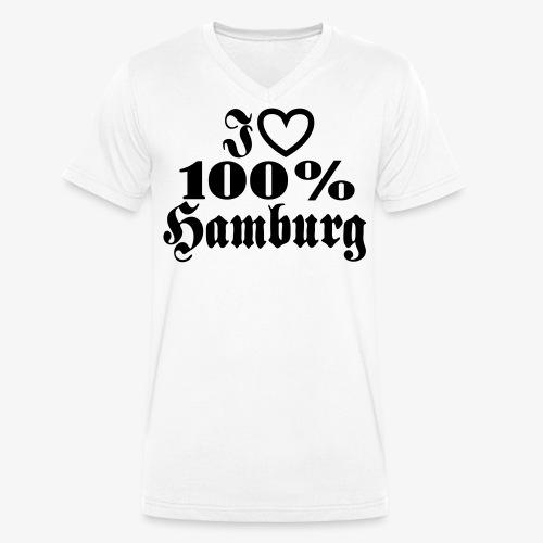 I love 100% Hamburg 1c / Herz - Männer Bio-T-Shirt mit V-Ausschnitt von Stanley & Stella