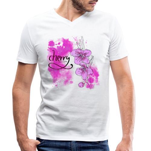 Kirschblüten Zweig - Männer Bio-T-Shirt mit V-Ausschnitt von Stanley & Stella
