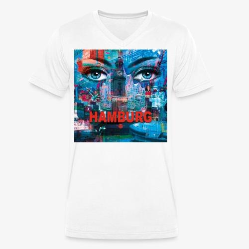 01 Faszination Hamburg Blaue Augen Elphi Michel - Männer Bio-T-Shirt mit V-Ausschnitt von Stanley & Stella