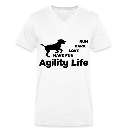 Hundesport Agility - Männer Bio-T-Shirt mit V-Ausschnitt von Stanley & Stella