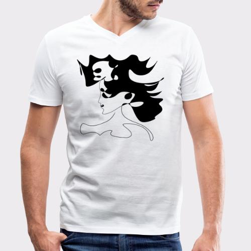LINEART ALLES WIRD GUT FRAU ILLUSTRATION Line Art - Männer Bio-T-Shirt mit V-Ausschnitt von Stanley & Stella