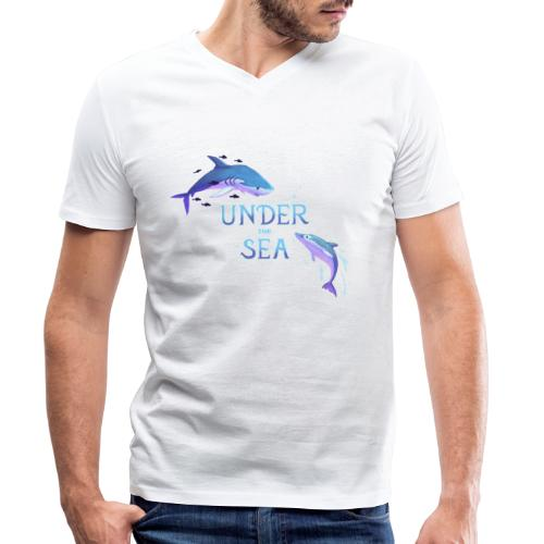 Under the Sea - Shark and Dolphin - Men's Organic V-Neck T-Shirt by Stanley & Stella