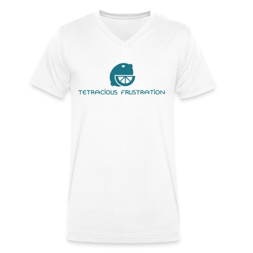 Coloured Tetracious Logo - Men's Organic V-Neck T-Shirt by Stanley & Stella