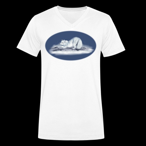 Arctic Fox on snow - Men's Organic V-Neck T-Shirt by Stanley & Stella