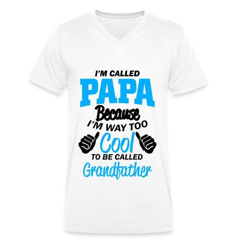 on m'appel papa car je suis trop cool grand-père - T-shirt bio col V Stanley & Stella Homme