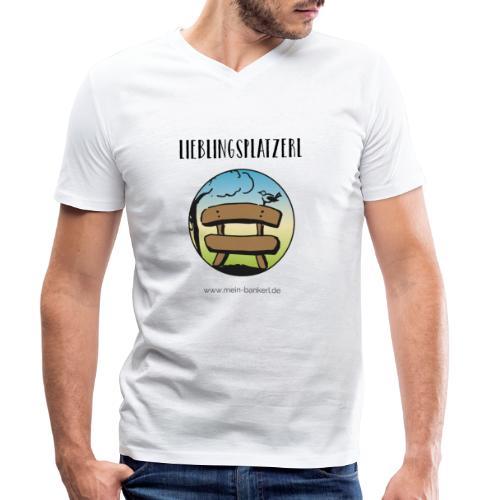 Lieblingsplatzerl MeinBankerl - Männer Bio-T-Shirt mit V-Ausschnitt von Stanley & Stella