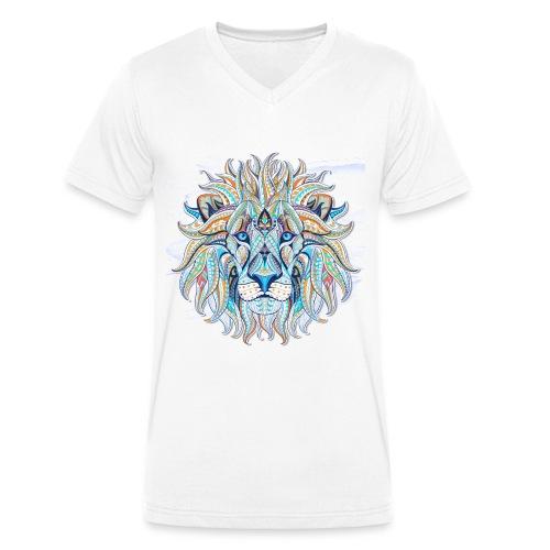 stock vector patterned head of the lion on the gru - Camiseta ecológica hombre con cuello de pico de Stanley & Stella
