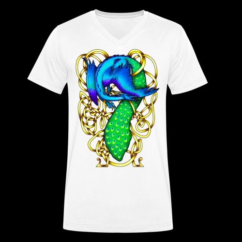 Peacock Dragon - Men's Organic V-Neck T-Shirt by Stanley & Stella