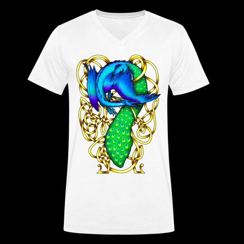 Peacock Dragon - Men's Organic V-Neck T-Shirt by Stanley & Stella