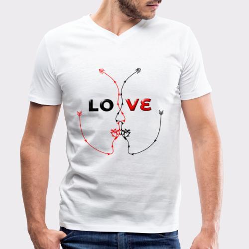 LOVE MINIMALISTIC LineART Valentinstaggeschenke - Männer Bio-T-Shirt mit V-Ausschnitt von Stanley & Stella