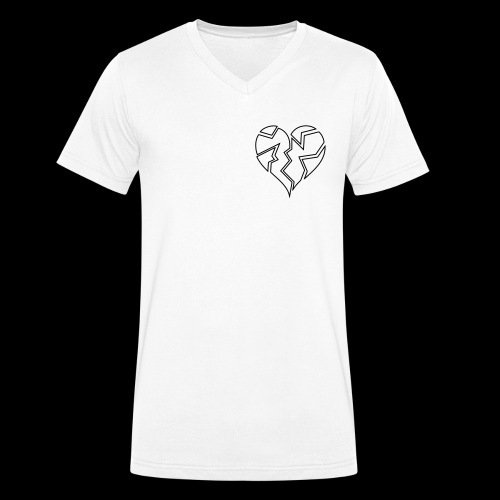 White HeartBroken - Men's Organic V-Neck T-Shirt by Stanley & Stella