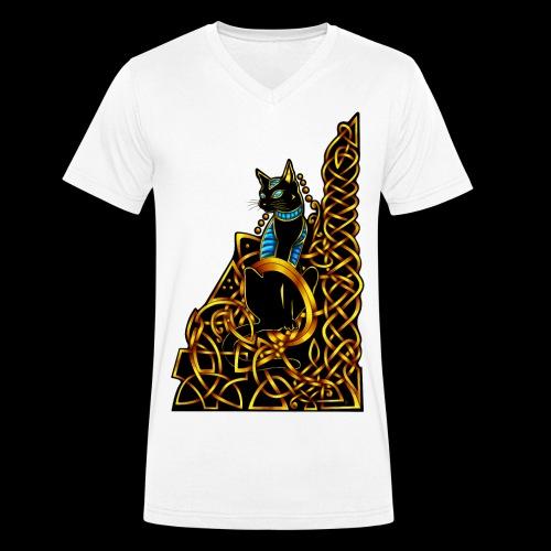 Celtic Cat - sitting - Men's Organic V-Neck T-Shirt by Stanley & Stella