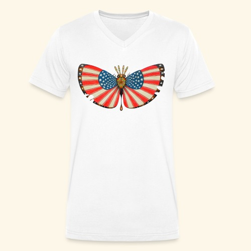patriot moth - T-shirt ecologica da uomo con scollo a V di Stanley & Stella