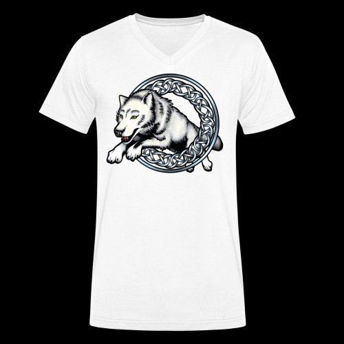 Leaping Wolf - Men's Organic V-Neck T-Shirt by Stanley & Stella