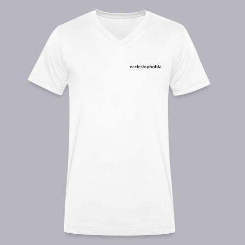 napis ecclesiophobia cienki czarny - Ekologiczna koszulka męska z dekoltem w serek Stanley & Stella