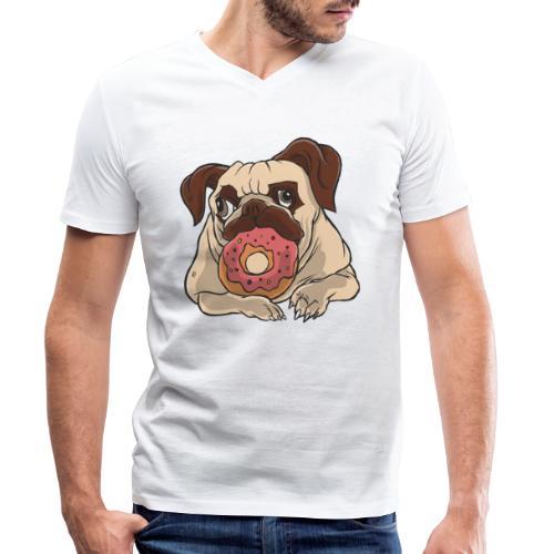 Beste Hund Hunde donut Mops - Männer Bio-T-Shirt mit V-Ausschnitt von Stanley & Stella