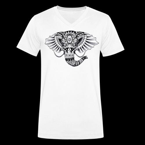 Elephant Ornate Drawing - T-shirt ecologica da uomo con scollo a V di Stanley & Stella