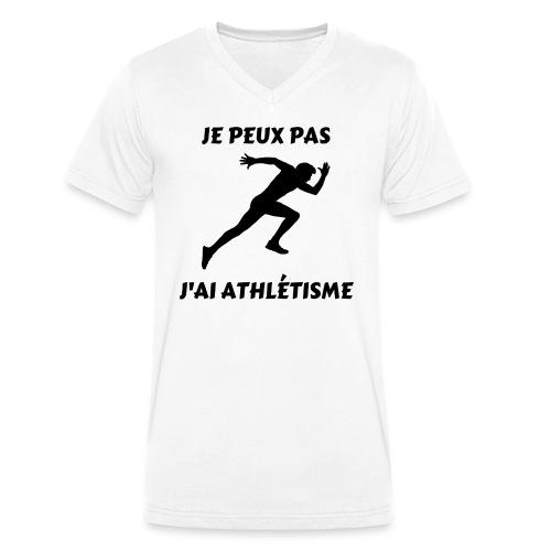 Je peux pas j'ai athlétisme - T-shirt bio col V Stanley & Stella Homme