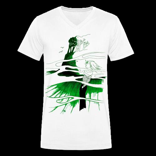 Ein Ort (grün) - Männer Bio-T-Shirt mit V-Ausschnitt von Stanley & Stella