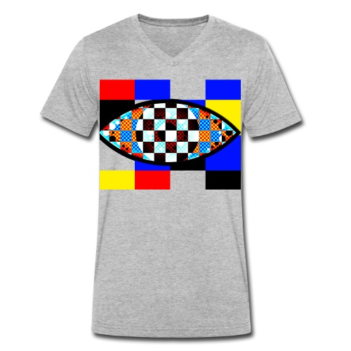 eye with squares in strong colors - Men's Organic V-Neck T-Shirt by Stanley & Stella