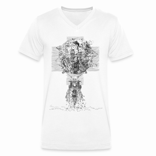 Si-Fi Mechanic - Original illustration - Men's Organic V-Neck T-Shirt by Stanley & Stella