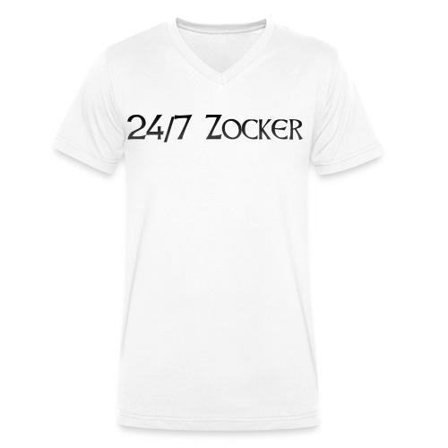 24/7 Zocker - Männer Bio-T-Shirt mit V-Ausschnitt von Stanley & Stella