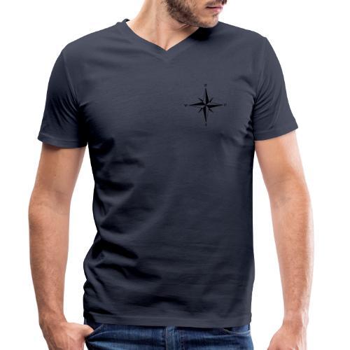 Kompas sort - Økologisk Stanley & Stella T-shirt med V-udskæring til herrer