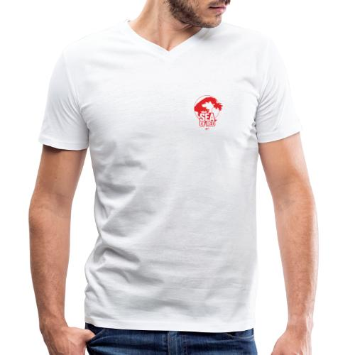Sea of red logo - small red - Men's Organic V-Neck T-Shirt by Stanley & Stella