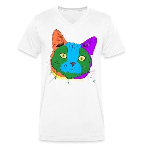 Gatto Soriano - T-shirt ecologica da uomo con scollo a V di Stanley & Stella