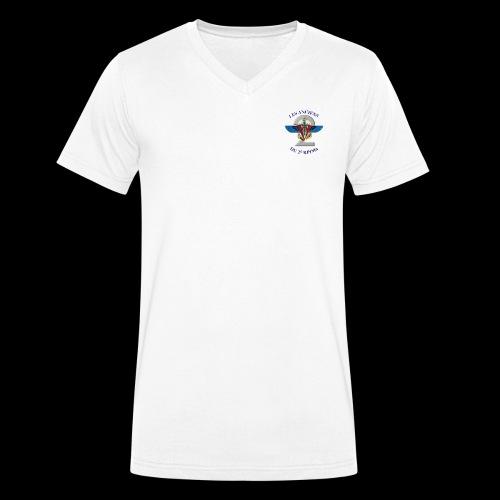 ANCIENS2 logo texte bleu detoure BD png - T-shirt bio col V Stanley & Stella Homme