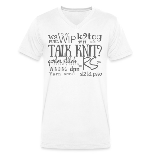 Talk Knit ?, gray - Men's Organic V-Neck T-Shirt by Stanley & Stella