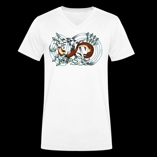 Otters entwined - Men's Organic V-Neck T-Shirt by Stanley & Stella