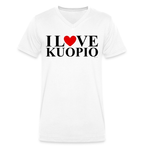 I LOVE KUOPIO (koko teksti, musta) - Stanley & Stellan miesten luomupikeepaita