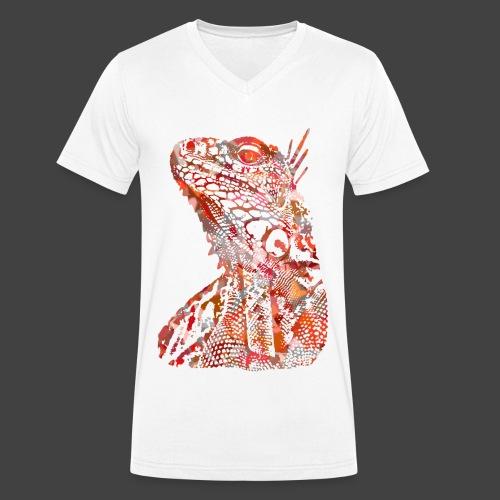 LIZARD1 - RED - Men's Organic V-Neck T-Shirt by Stanley & Stella