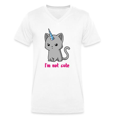 Einhorn Katze Ich bin nicht süß - Männer Bio-T-Shirt mit V-Ausschnitt von Stanley & Stella