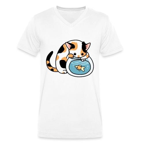 Katze mit Fisch im Glas - Männer Bio-T-Shirt mit V-Ausschnitt von Stanley & Stella