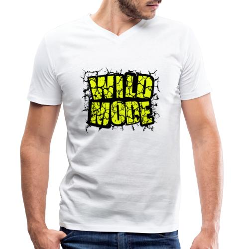 WILD MODE NEGRO Y VERDE - Camiseta ecológica hombre con cuello de pico de Stanley & Stella