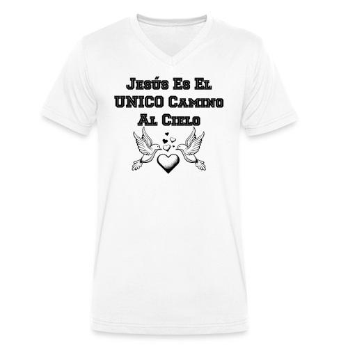 Jesus Unico camino al cielo - Camiseta ecológica hombre con cuello de pico de Stanley & Stella