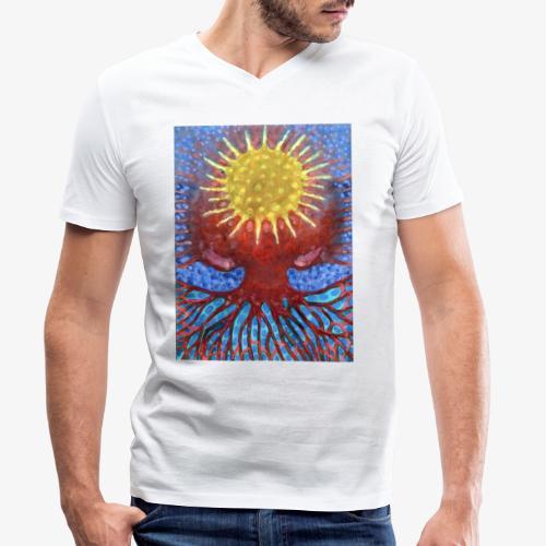 Niebiańskie Drzewo - Ekologiczna koszulka męska z dekoltem w serek Stanley & Stella
