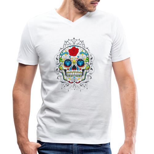 Rose und Diamantschädel - Männer Bio-T-Shirt mit V-Ausschnitt von Stanley & Stella