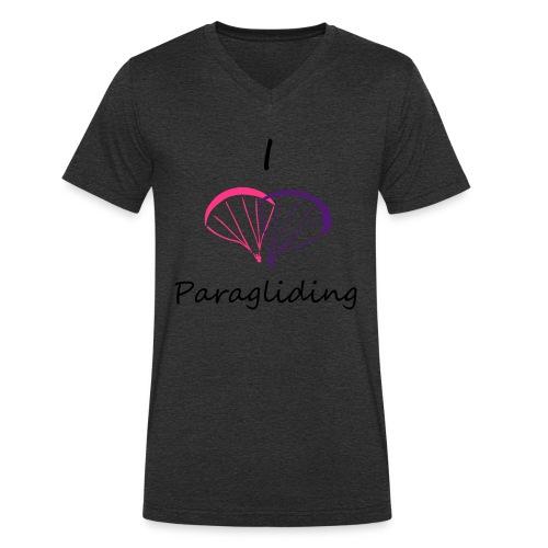 I Love Paragliding V2 - Men's Organic V-Neck T-Shirt by Stanley & Stella