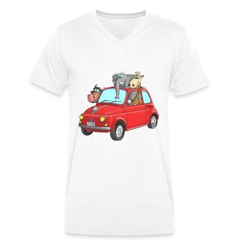 Giraffe - Elefant - Bulle im Auto Kinder - Männer Bio-T-Shirt mit V-Ausschnitt von Stanley & Stella