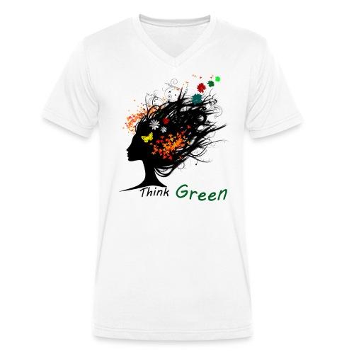 think_green - T-shirt ecologica da uomo con scollo a V di Stanley & Stella