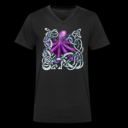 Celtic Octopus - Purple - Men's Organic V-Neck T-Shirt by Stanley & Stella