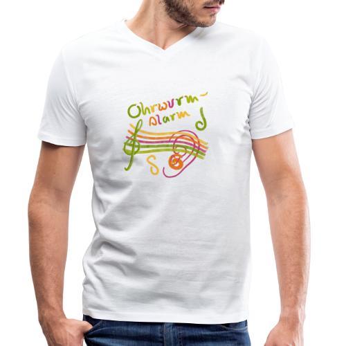 Ohrwurm Alarm Musiknoten und Würmer - Männer Bio-T-Shirt mit V-Ausschnitt von Stanley & Stella